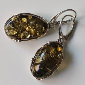 Kolczyki srebrne z bursztynem