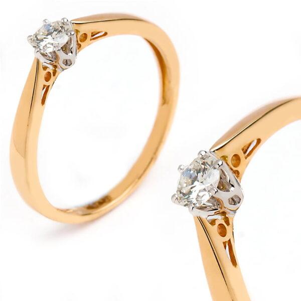 Pierścionek złoty z brylantem