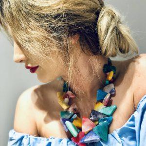 Naszyjnik z kolorowych agatów