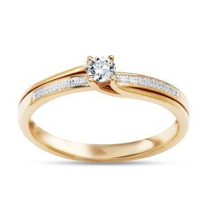 Pierścionek zaręczynowy z dwukolorowego złota