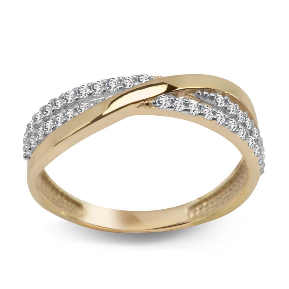 Pierścionek złoty, zdobiony cyrkoniami