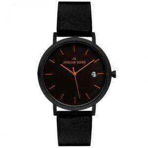 Męski zegarek na czarnym skórzanym pasku.